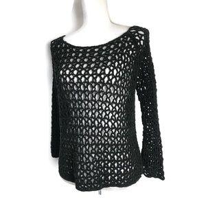 Free People sweater black boatneck crochet